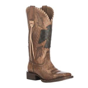 Ariat Women's Naturally Distressed Brown Thunderbird Wide Square Toe Western Boots (AR0023153)