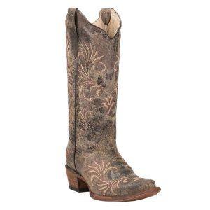 4. Corral Circle G Women's Distressed Chocolate with Tan & Brown Embroidery Snip Toe Western Boots (CBL5133)