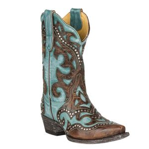 5. Cavender's by Old Gringo Women's Turquoise and Brass Goat with Inlay and Studs Western Snip Toe Boots (CVL141-7)